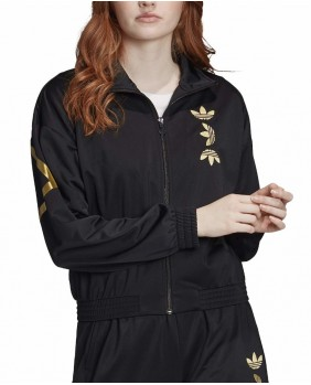 Adidas Originals Lrg Logo TT Felpa Zip Donna - Black/Gold
