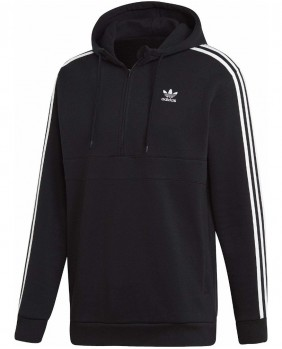 Adidas Originals 3-Stripes Half Zip Felpa Mezza Zip Uomo - Black