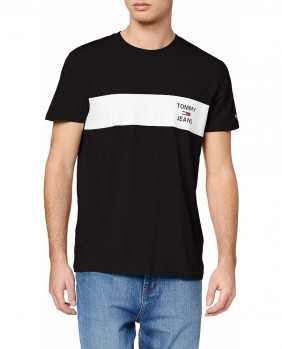 M Chest Stripe Log T-Shirt Uomo - Nero BDS