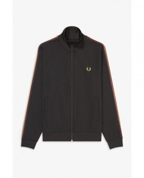 Taped Sleeve Track Jacket Felpa Zip Uomo - Black