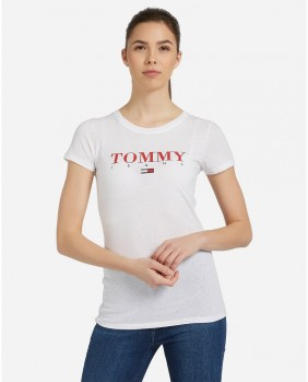 W Essential Slim Logo T-Shirt Donna - White