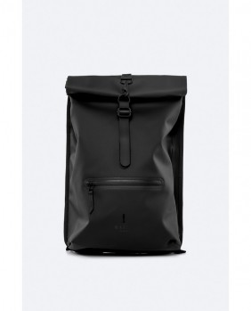 Roll Top Rucksack Zaino Unisex - Black