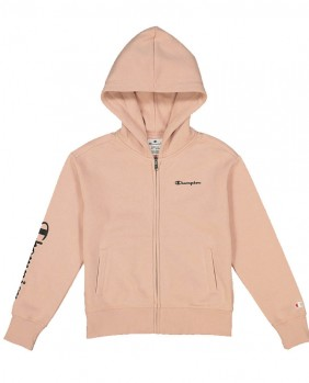 G Hooded Full Zip Felpa Zip Bambina - LightPink